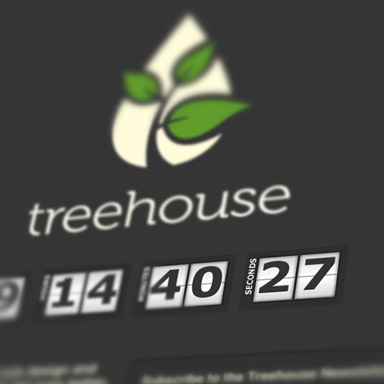 A screenshot of our new logo for Treehouse, alongside a countdown clock.